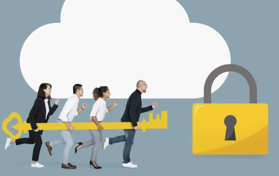 Imagem ilustrativa de gestores com uma chave na mão correndo para abrir uma empresa representada por um cadeado