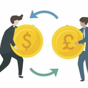 Imagem ilustrativa de duas pessoas efetuando a troca de duas moedas diferentes no mercado de câmbio