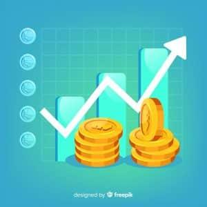 moedas-e-grafico-crescente-representando-gestao-financeira