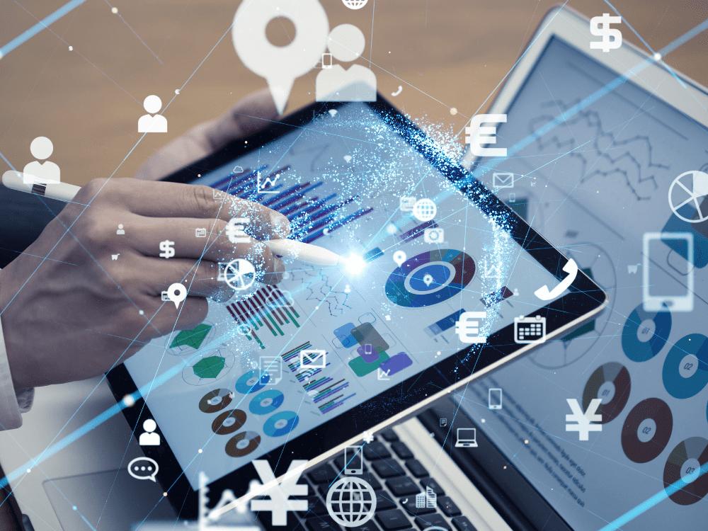 gráficos em tablet ativo intangível